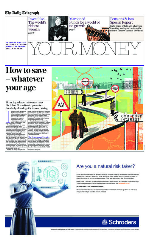 Telegraph Your Money Schroders Pensions Special 21 June 2016