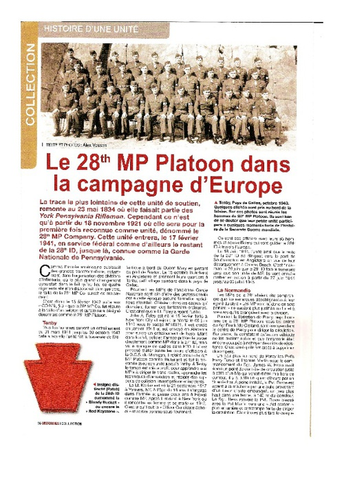 Le 28th MP Platoon dans la campagne de l'Europe