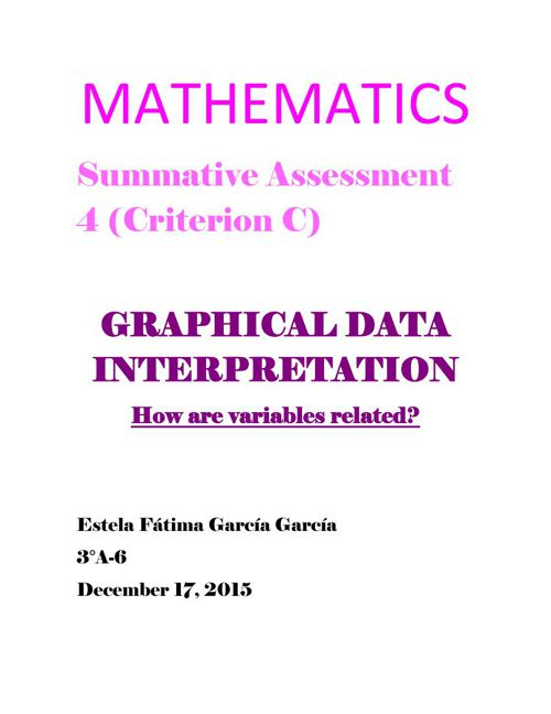 MATHEMATICS Summative Assessment 4 GRAPHIC DATA INTERPRE