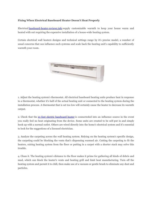 Fixing When Electrical Baseboard Heater Does1
