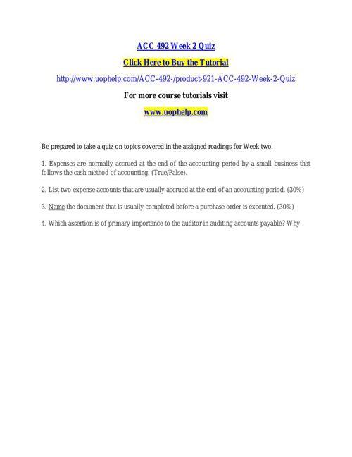 ACC 492 Week 2 Quiz