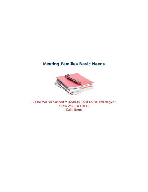 Meeting Families Basic Needs