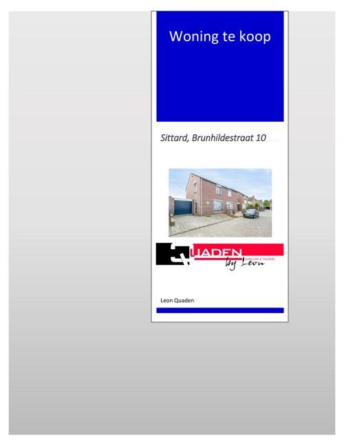 Quaden Makelaars Sittard, Brunhildestraat 10 Boekje