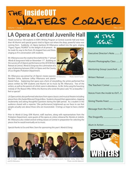 Writers Corner Vol1 Iss 3 Fall 2011