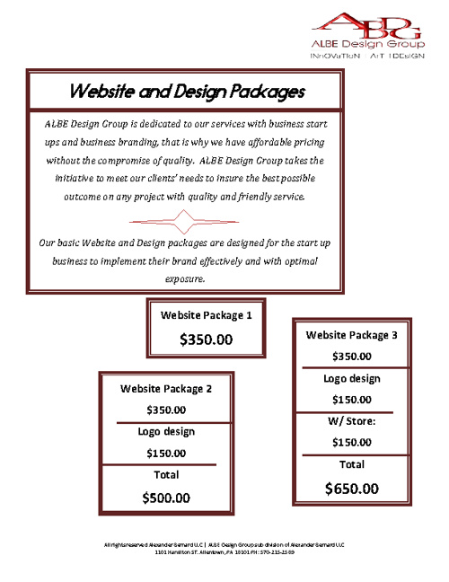 ALBE Design Group Business Packages