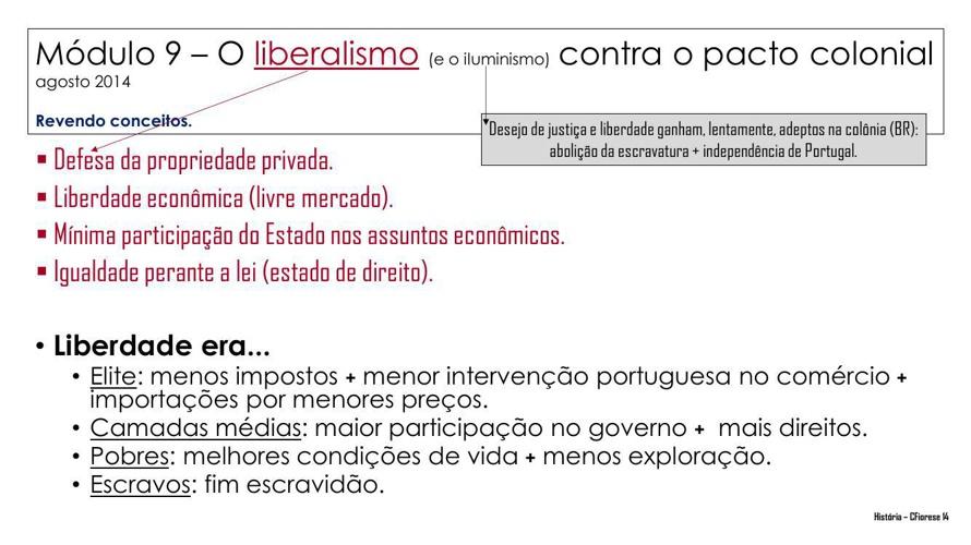 Anglinho - 2014 - 8º ano - Módulo 9 – O liberalismo contra o pac