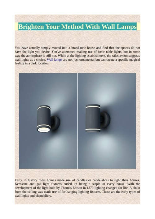 Brighten Your Method With Wall Lamps