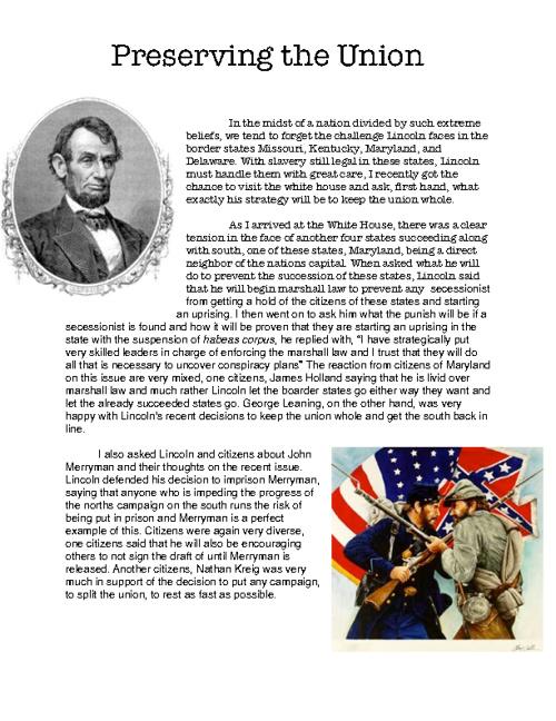 Civil War Report-Michael Bonner