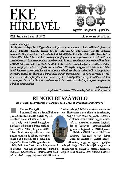 EKE HÍRLEVÉL 2012. 9. évfolyam. 3. szám