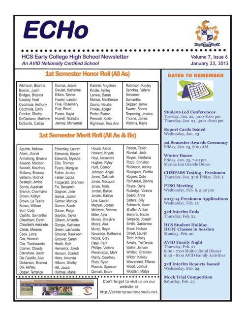 ECHS - January 2013 Newsletter