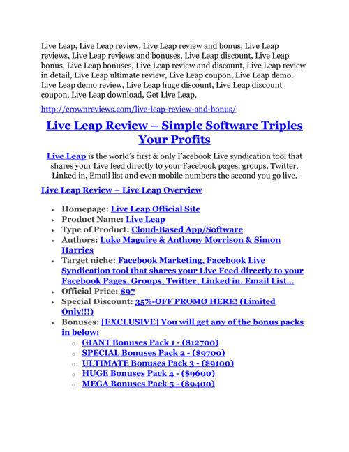Live Leap review & Live Leap $22,600 bonus-discount
