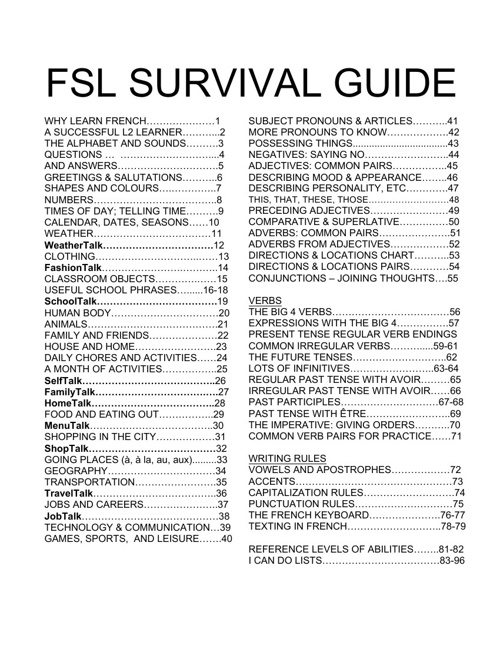FSL SURVIVAL GUIDE