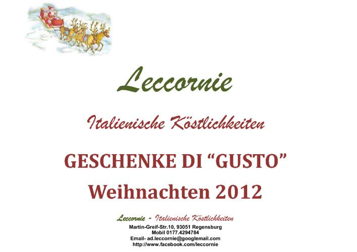 """GESCHENKE DI """"GUSTO"""" Weihnachten 2012"""