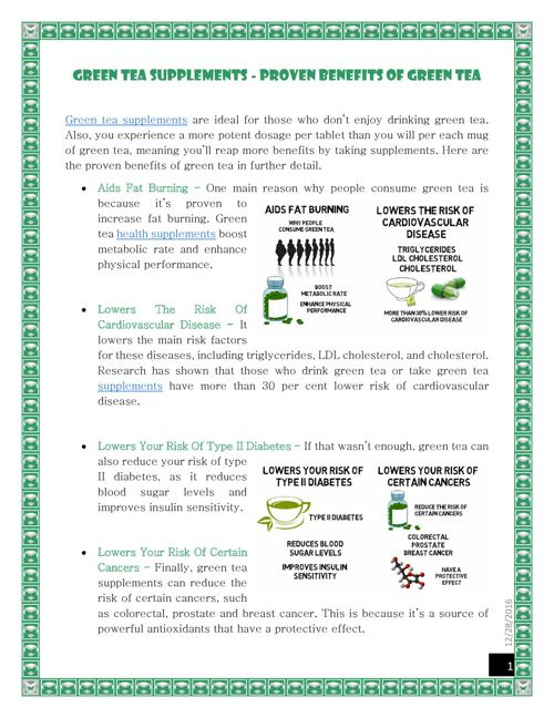 Green Tea Supplements  - Proven Benefits Of Green Tea
