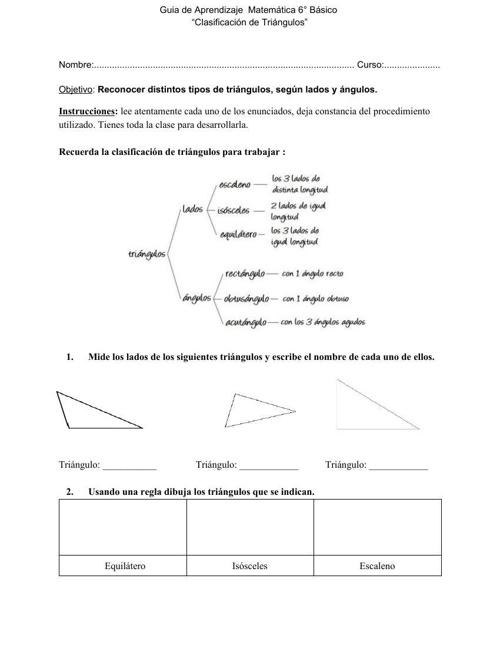 Guía de aprendizaje matemática, 6° básico, geometría.