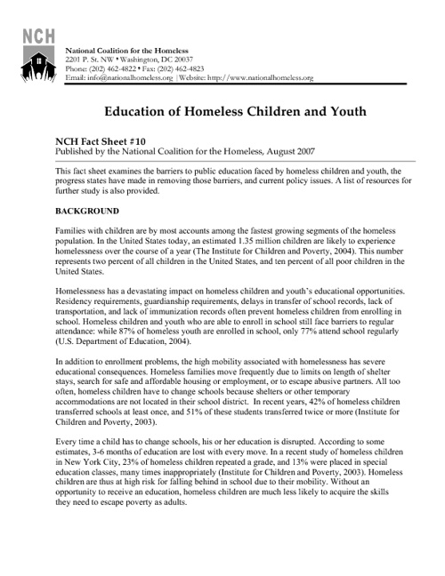 Education of Homeless Children and Youth