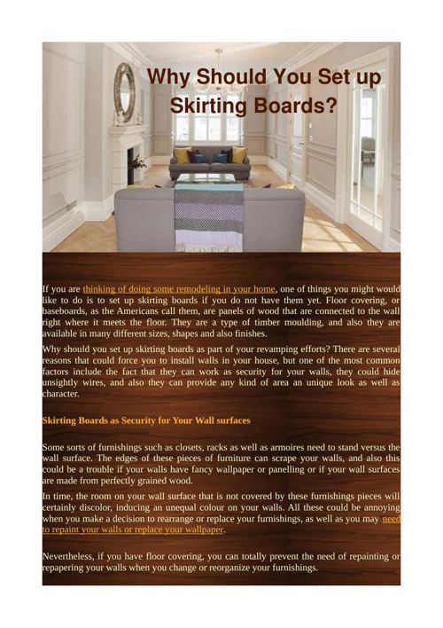 Why Should You Set up Skirting Boards?