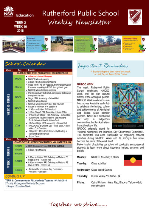 Rutherford Public School Newsletter Week 10 Term 2 2016