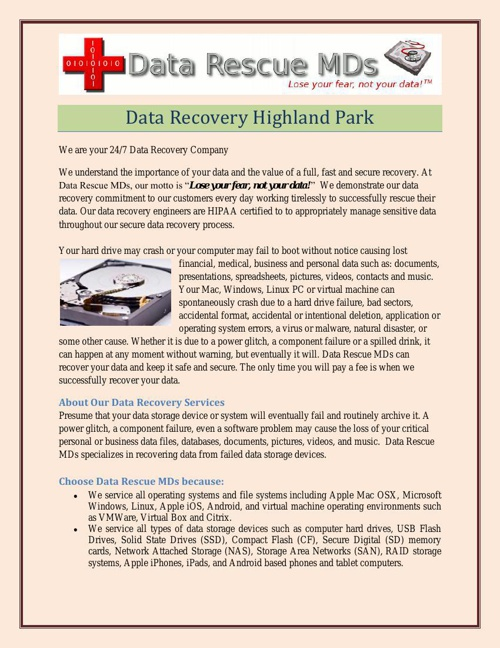 Data Recovery Highland Park