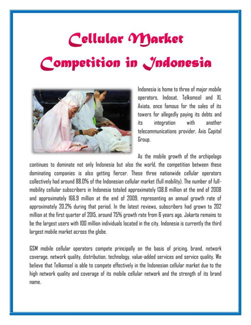 Cellular Market Competition in Indonesia
