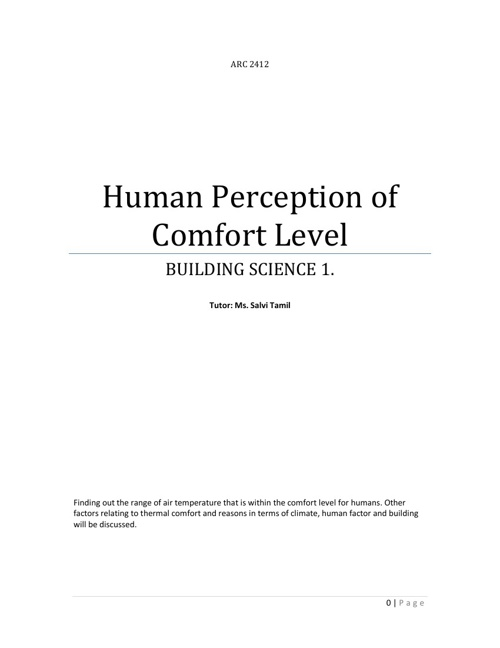 Project 1: Human Perception of Comfort Level