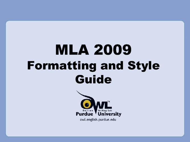 MLA Presentation