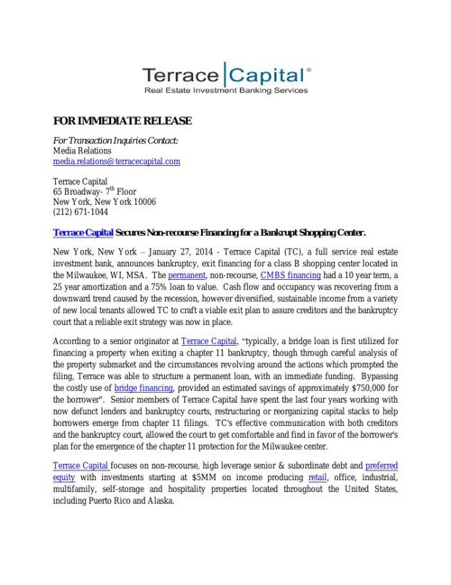Terrace Capital Secures Non-recourse Financing for a Bankrupt Sh