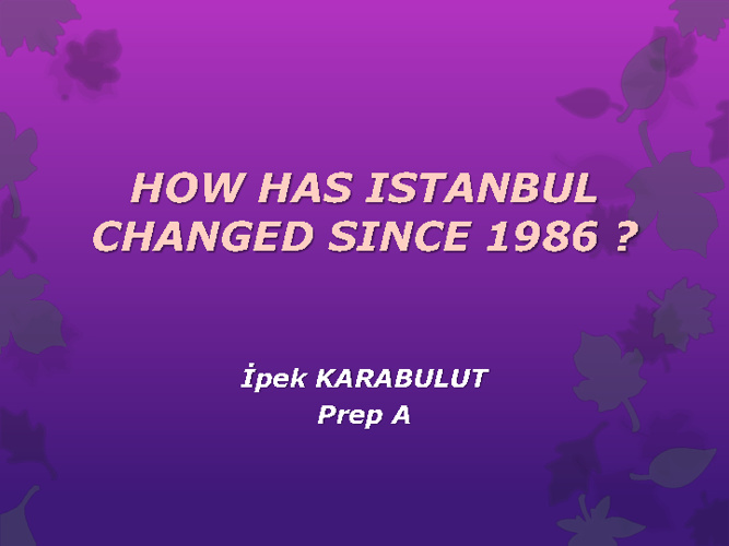 How has Istanbul changed since 1986 ?