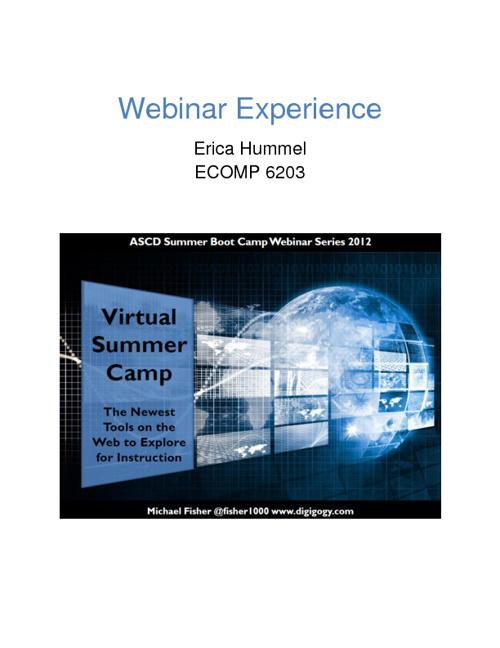 Webinar Experience - Web 2.0 Tools