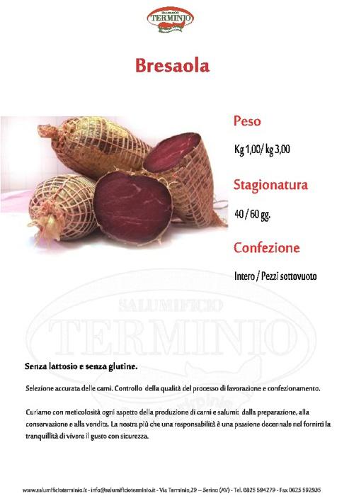 SCHEDE PRODOTTO:Bresaola, Capicollo, Culatello, Filone