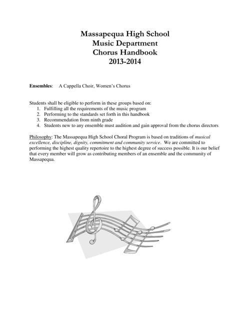 Massapequa High School Chorus Handbook