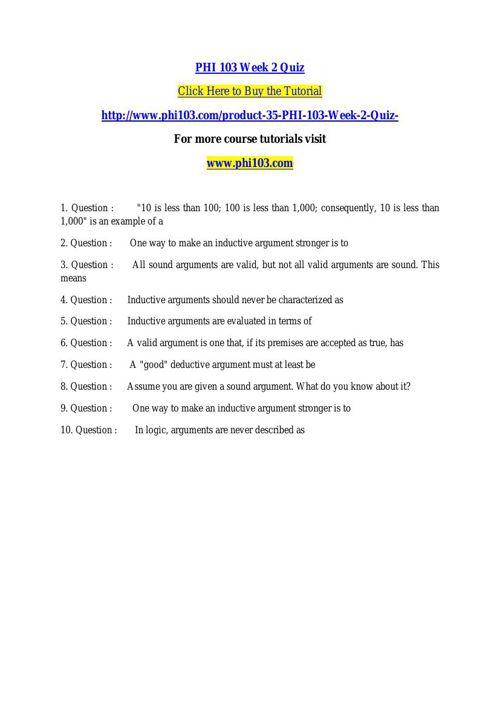 PHI 103 Week 2 Quiz