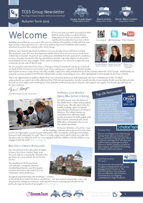 TCES Group Newsletter - Autumn 2012