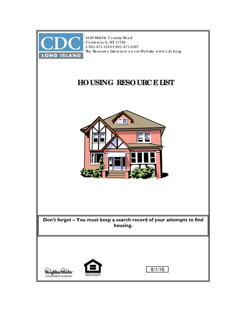 Housing Resource Booklet 8. 9.16