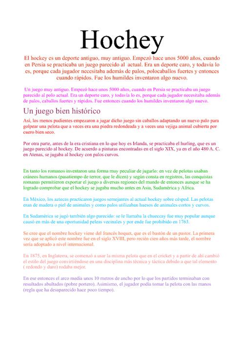 Trabajo Educación fisíca→ Hochey