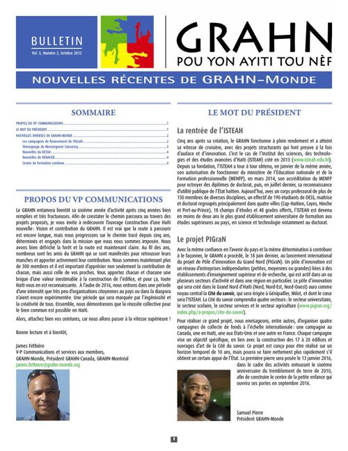 Bulletin de GRAHN-Monde, Vol 3 No 2, Octobre 2015