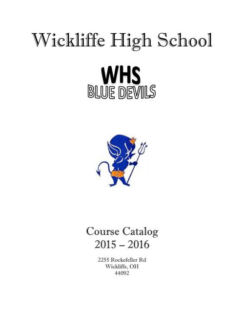 Wickliffe High School 15-16 Course Catalog
