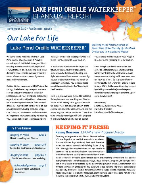 Lake Pend Oreille Waterkeeper Bi-Annual Report
