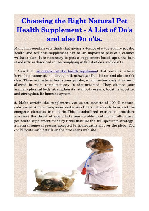 Choosing the Right Natural Pet Health Supplement - A List of Do'