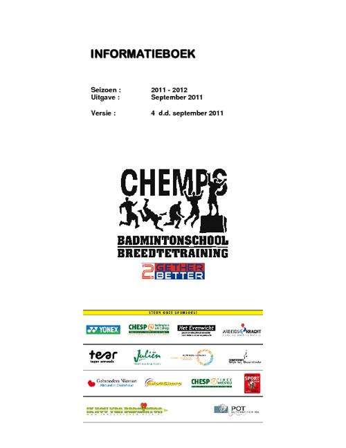 CHEMPSbadmintontraining informatieboek