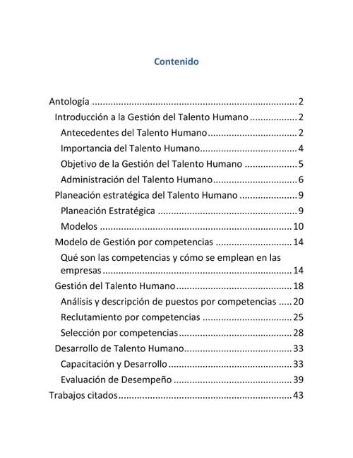 Antologia de Gestión del Talento Humano