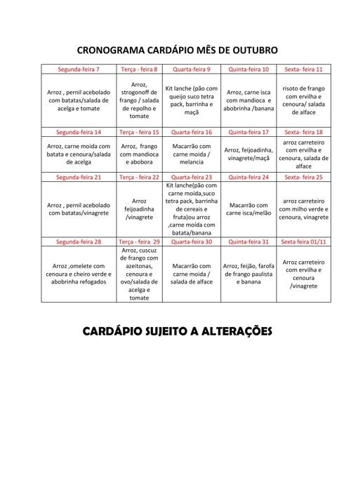 CARDÁPIO DO MÊS DE OUTUBRO