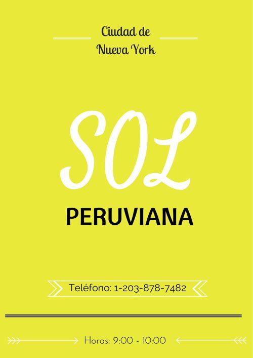 Sol Peruviana- Spanish Menu Project