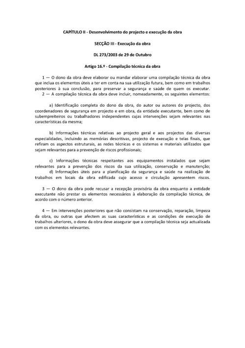 Compilação Técnica_artº 16º_DL273-2003