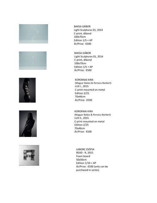 Árlista/ Price List