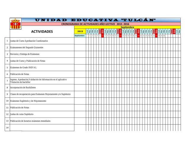 CRONOGRAMA CAMBIO DE MES BACQ