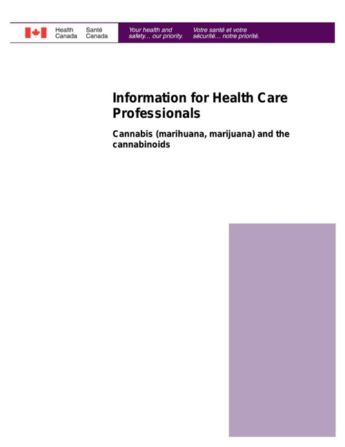Information for Health Care Professionals - Cannabis