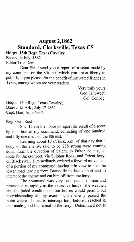 Letter from George Sweet about Batesville encounter with the Uni