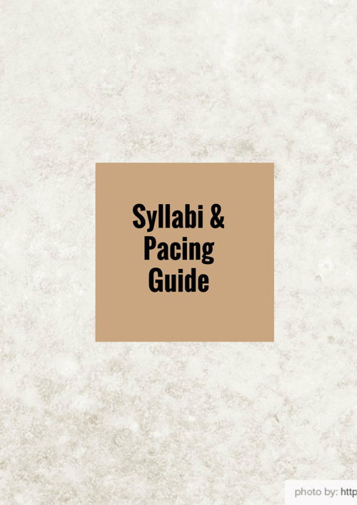 Syllabus and Pacing Guide