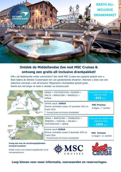 Msc aanbiedingen oktober cruise maand